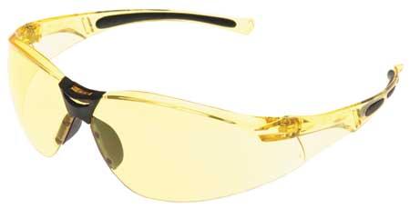 Honeywell Amber Safety Glasses,  Scratch-Resistant,  Wraparound