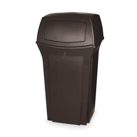 35 gal.  Square  Brown  Trash Can w/ Lid