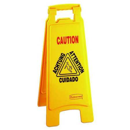 Floor Safety Sign, Caution, Eng/Sp/Fr/Grmn