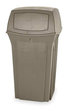 35 gal.  Square  Beige  Trash Can w/ Lid