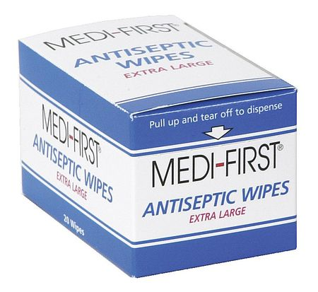 Antiseptic Wipes, Packet, 5 x 8 In., PK20