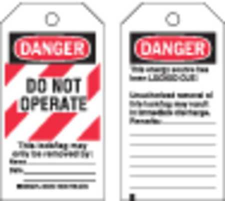 Danger Tag, 5-1/2 x 3 In, Hd Polyest, PK25