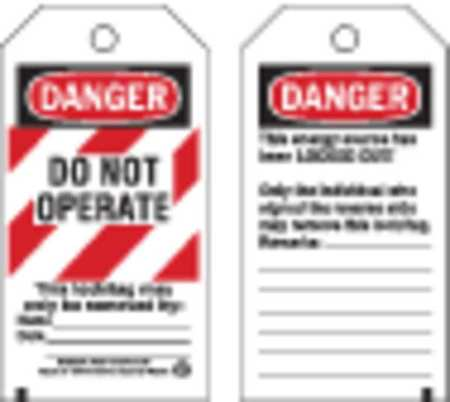 Danger Tag, 5-3/4 x 3 In, Cardstock, PK25