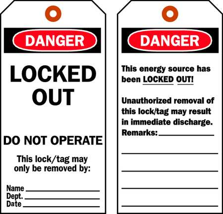 Danger Tag, 5-3/4 x 3 In, Cardstock, PK25