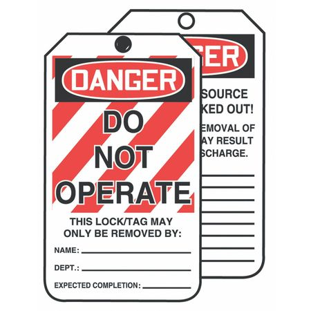 Danger Tag, 6-1/4 x 3 In, Cardstock, PK250
