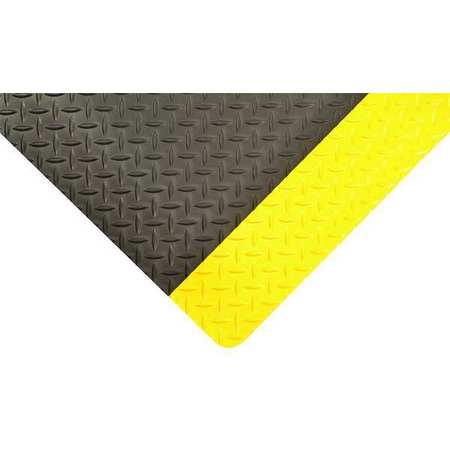 Antifatigue Mat, Black, YllwBrdr, 2x2ft 9""