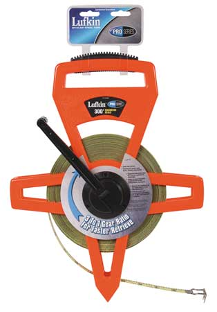 Tape Measure, 1/2 Inx300 ft, Orange/Black