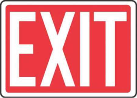 Emergency Exit Sign, 7 x 10In, R/WHT, PLSTC