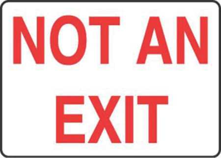 Fire No Exit Sign, 7 x 10In, R/WHT, AL, ENG