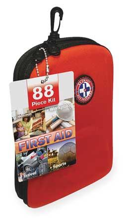 Travel First Aid Kit, Bulk, Red, 88 Pcs