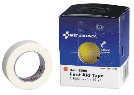 First Aid Tape, White, 1/2 In. W, 10 yd. L