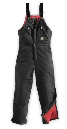 Bib Overalls, Black, Size 38x30 In