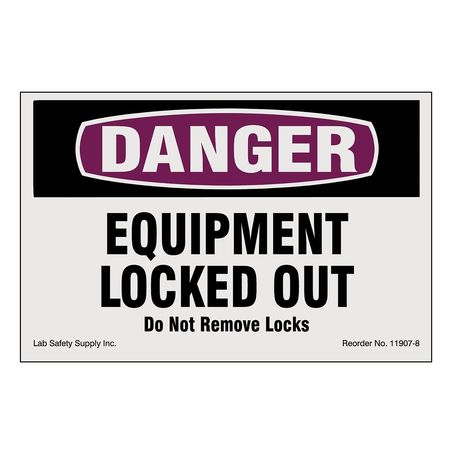 Lockout/Tagout Magnet Sign, 4 In.H, 6 In.W