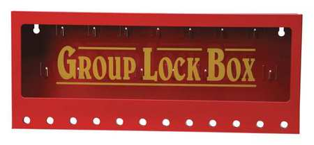 Group Lockout Box, 12 Locks Max, Red