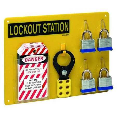 Lockout Station, Filled, 4 Locks, Blk/Ylw