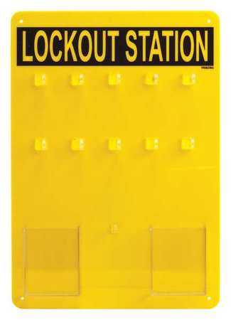 Lockout Station, Unfilled, 14 In H, Blk/Ylw