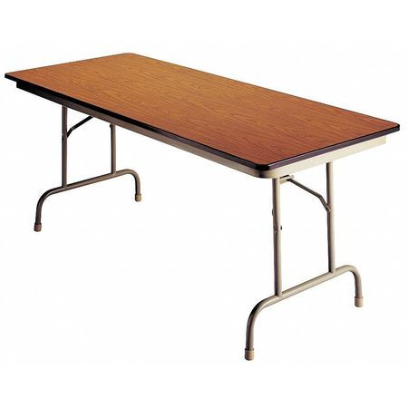 "Rectangle Folding Table,  36""D x 96""W x 30""H,  Walnut/Beige"