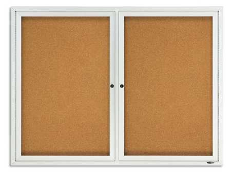 "Enclosed Cork Bulletin Board 48 x 36"",  2 Door"