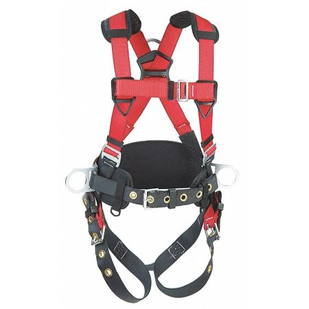Full Body Harness, XL, 420 lb., Red/Gray