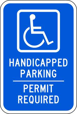 Parking Sign, 18 x 12In, WHT/BL, G-53, HDCP