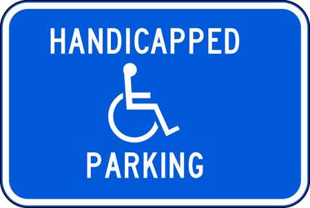 Parking Sign, 12 x 18In, WHT/BL, G-42, MUTCD