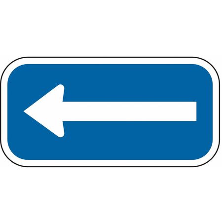 Parking Sign, 6 x 12In, WHT/BL, SYM, Arrow