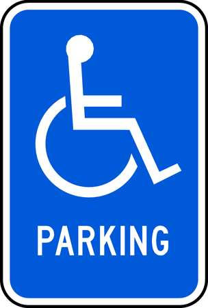 Parking Sign, 18 x 12In, WHT/BL, PRKG, HDCP