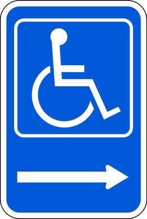 Handicap Parking Sign, 18 x 12In, WHT/BL
