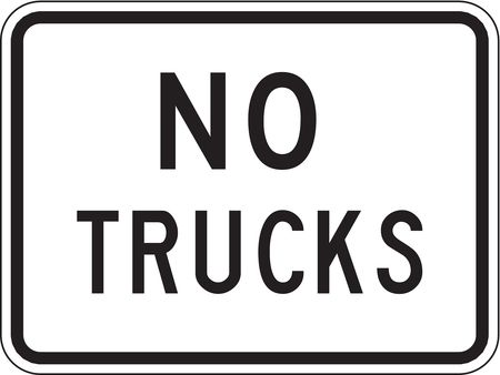 Traffic Sign, 18 x 24In, BK/WHT, No Trucks