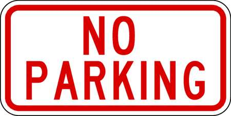 Parking Sign, 6 x 12In, R/WHT, No PRKG, Text