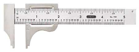 Vernier Caliper, 4 In, SS, 1/16, 1mm Grad