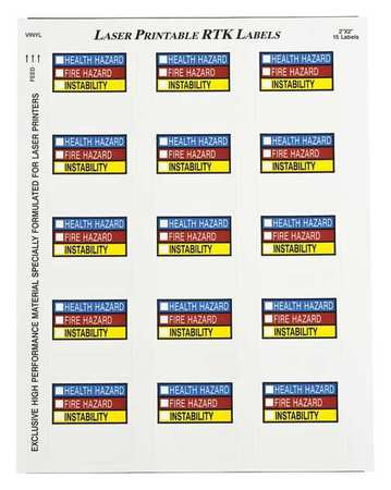 NFPA Label, 2 In. H, 2 In. W, PK25