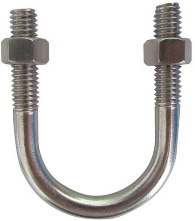"3/8""-16 x 2-1/2"" Pipe Size Zinc Low Carbon Steel U-Bolt,  10 pk."