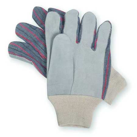 Leather Gloves, Knit Wrist, L, PR