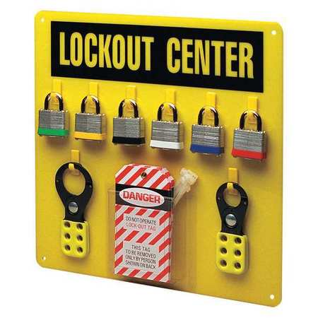 Lockout Station, Filled, 6 Steel Locks