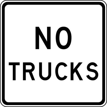 Traffic Sign, 24 x 24In, BK/WHT, No Trucks