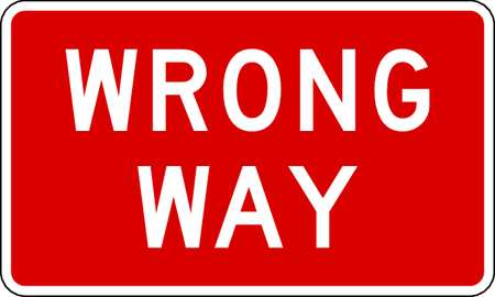 Traffic Sign, 24 x 36In, WHT/R, Wrong Way