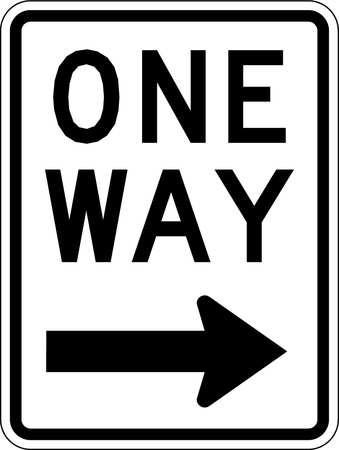 Traffic Sign, 24 x 18In, BK/WHT, OW, R6-2R