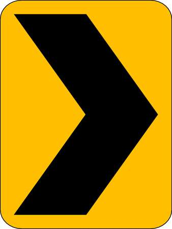 Traffic Sign, 18 x 12In, BK/YEL, SYM, W1-8