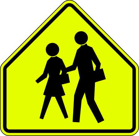 Traffic Sign, 30 x 30In, BK/FLUOR YEL, SYM