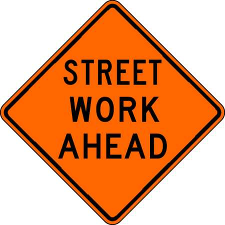 Traffic Sign, 30 x 30In, BK/ORN, ENGR GR AL