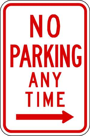 Parking Sign, 18 x 12In, R/WHT, R7-1R, MUTCD