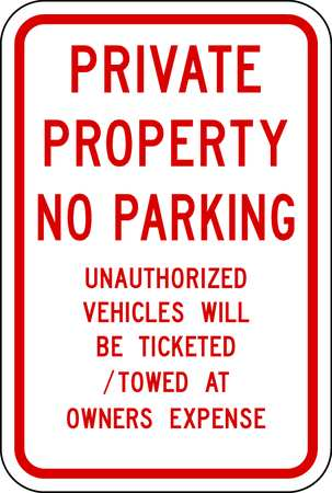 Parking Sign, 18 x 12In, R/WHT, Text, MUTCD