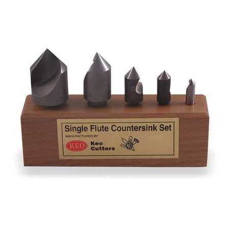 Countersink Set, 5 PC, 1 FL, 100 Deg, Cobalt