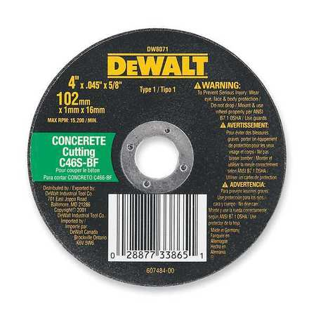"CutOff Wheel, C24P, 12""x.125""x20mm, 6400rpm"