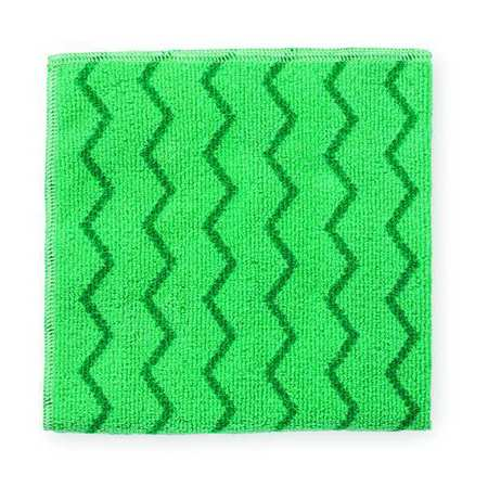 Microfiber Cloth, Green, 16x16 In, PK12