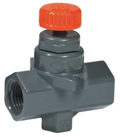 Needle Valve, Straight, PVC, 1/4 In., FNPT
