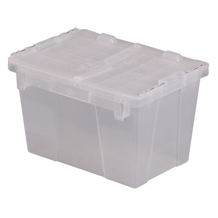 Lewis Bins Attached Lid Container,  0.6 cu ft.,  Clear
