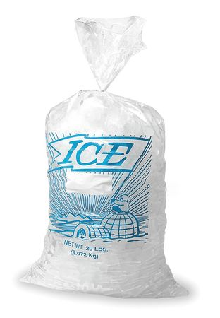 Ice Bag, 21x9x3 In., 1.25 mil, Pk1000