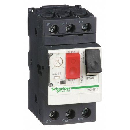 Manual Motor Starter, Button, 4-6.3A, 1P